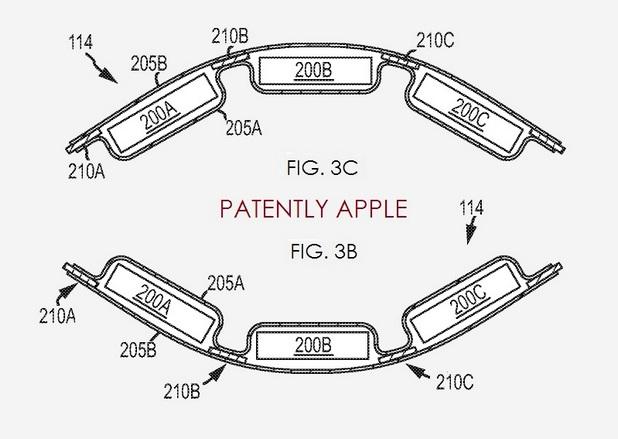 Гъвкавата батерия на Apple ще може да се приспособява към устройства с различен формфактор (източник: PatentlyApple)