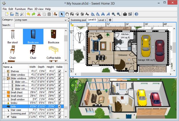 Sweet Home 3D позволява създаване на план на жилището и разполагане на мебелите в него, а резултатът се показва в 3D
