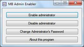 MB Admin Enabler позволява лесно разрешаване и забрана на администраторски акаунти