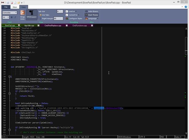 BowPad разпознава използвания синтаксис на множество езици за програмиране