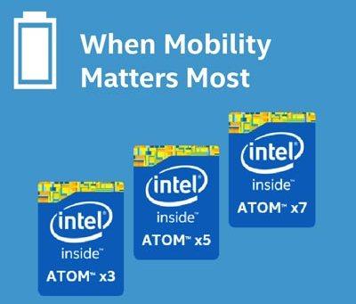 Обозначенията Atom x3, x5 и x7 ще означават процесори с различна производителност