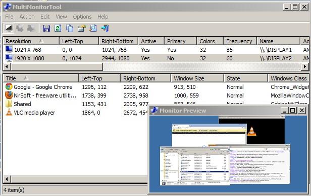 MultiMonitorTool поддържа множество функции за улеснение на работата с няколко монитора