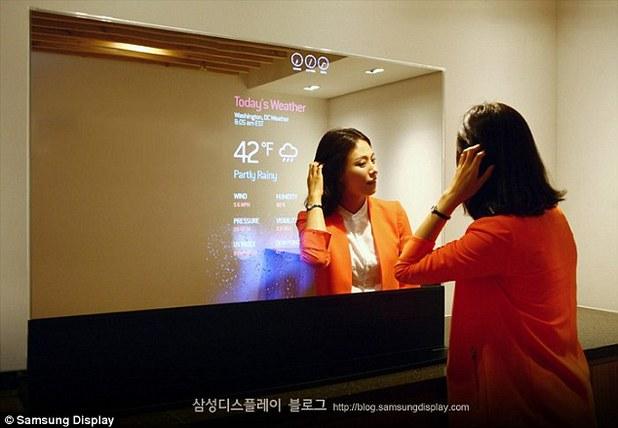 Огледалният екран на Samsung може да замени не само витрините и пробните, но дори и домашните огледала