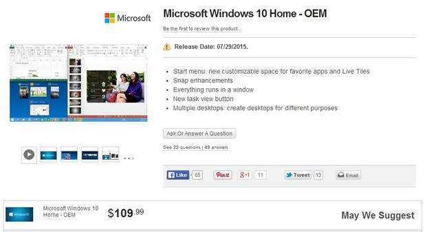 Цените на ОЕМ версиите на Windows 10 ще започват от $110 за Home (източник: Newegg.com)