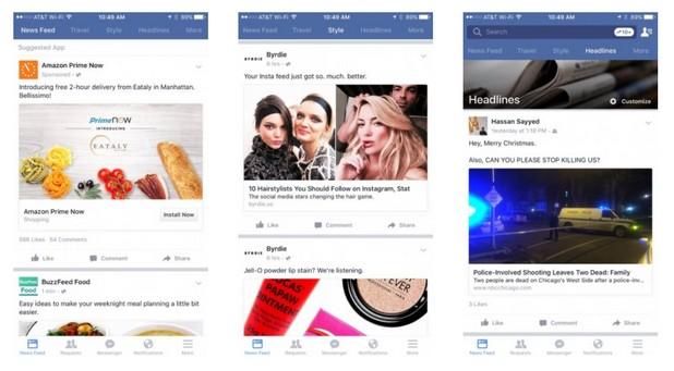 Тематични ленти показват подбрано съдържание от приятели и страници във Facebook