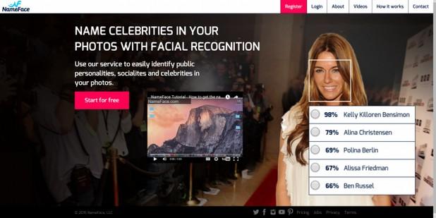 NameFace.com е първата услуга, която се фокусира само върху разпознаване на публично известни лица
