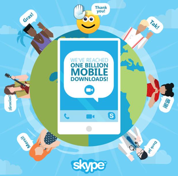 Над един милиард са вече свалянията на мобилното Skype приложение, сочи официалната статистика