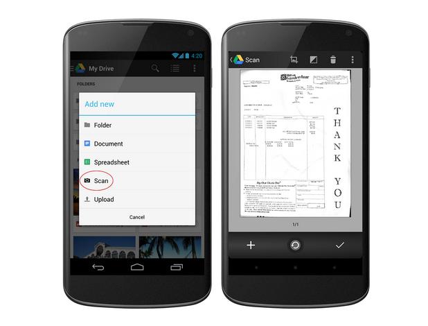 Обновеното приложение Google Drive for Android вече позволява сканиране на документи с последващо съхранение в облака