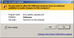 Trojan.Mods.1 може да се стартира във вид на обновление за Java