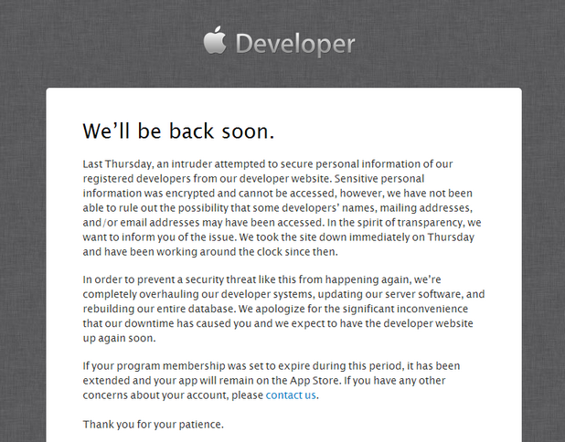 Ресурсният център на Apple Developer продължава да бъде недостъпен за разработчиците