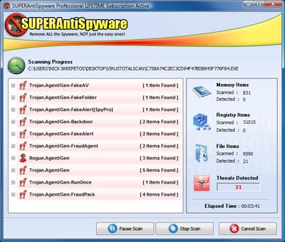 SUPERAntiSpyware открива заплахи, които остават незабелязани от други антивируси, твърди разработчикът