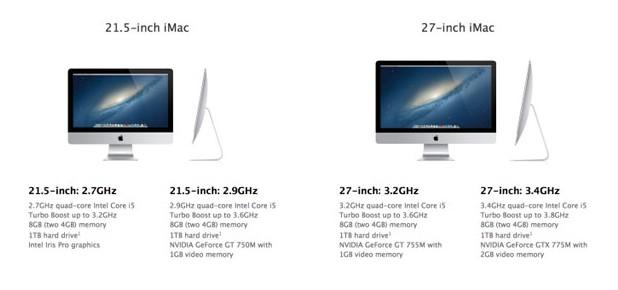 Новата линия iMac включва два модела с диагонал 21,5 инча и два 27-инчови