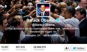 Над 50% от близо 37-те милиона последователи на Обама в Twitter са фалшиви