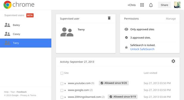Supervised Users разширява възможностите на операционната система на Chrome OS, като позволява множество акаунти с различни нива на привилегии
