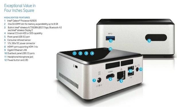 NUC има размери 116,6x112x51,5 мм и се захранва от външен адаптер