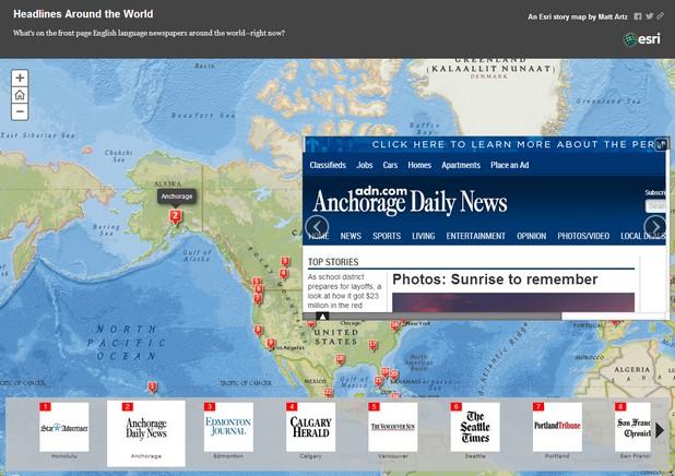 Storymap позволява четене на 86 от англоезични медии върху интерактивна уеб карта