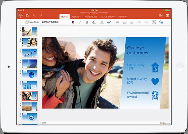 MS Office за iPad предлага почти същата функционалност като Office пакета за настолни РС