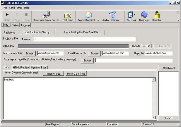 123 Hidden Sender се отличава с интуитивен, лесен за ползване интерфейс