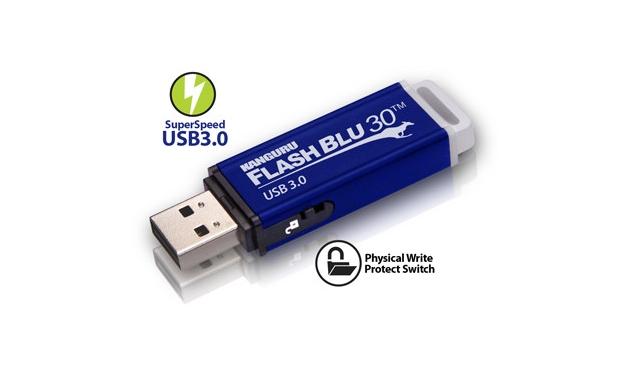 Kanguru FlashBlu30 идва с т.нар. Physical Write Protect Switch, разположен отстрани, близо до самия USB конектор