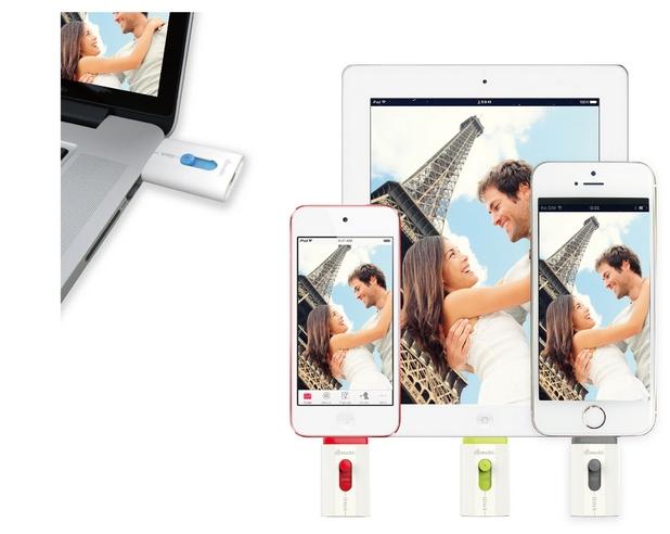 Флашката Gmobi iStick се свързва към мобилни джаджи от рода на iPhone и iPad през Lightning порт, както и към компютри през USB