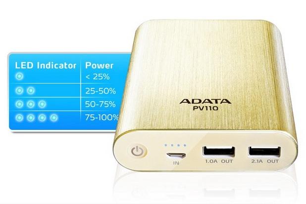 PV110 Power Bank има два USB порта с възможност за общо 3,1A изход по ток
