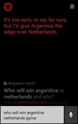 """""""Рано е да се каже със сигурност, но аз бих дал предимство на Аржентина над Холандия"""", бе прогнозата на Cortana за двубоя от полуфиналите на световното първенство по футбол в Бръзилия"""