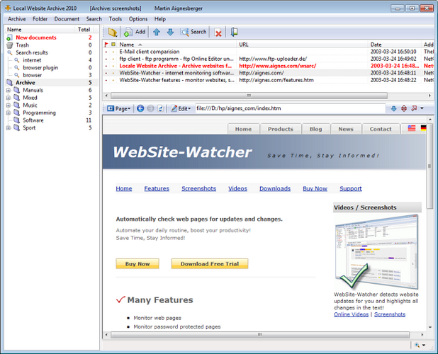 Local Website Archive може да се използва като добавка към WebSite-Watcher