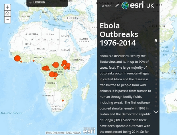 Уеб картата на Есри преминава през всички регистрирани огнища и известни факти, свързани със смъртоносния вирус