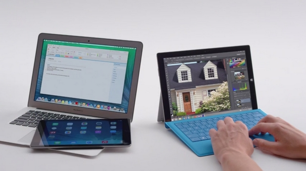 Според Microsoft, потребителите на Apple вече няма нужда да носят със себе си MacBook Air и iPad, тъй като могат да имат и дветe устройства в таблета Surface Pro 3