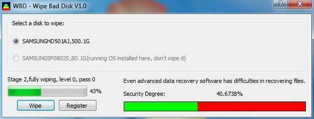 Wipe Bad Disk е опростена и ефективна програма за сигурно изтриване на информацията от дискове, вкл. и от лошите сектори