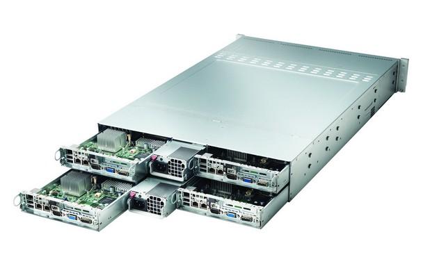 Цялата система е поместена в 2U форм-фактор, който поема до 4 модула и поддържа два процесора