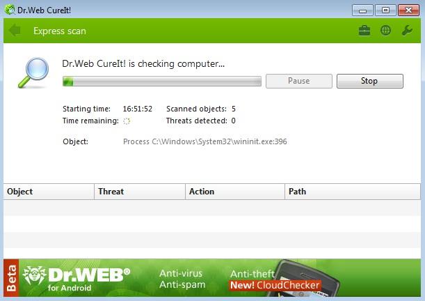 Dr.WEB CureIt! се явява втори защитен слой, в допълнение към антивирусите в реално време