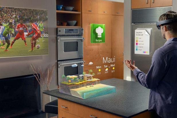 HoloLens показва холограми с висока резолюция и възпроизвежда точно позициониран в пространството звук