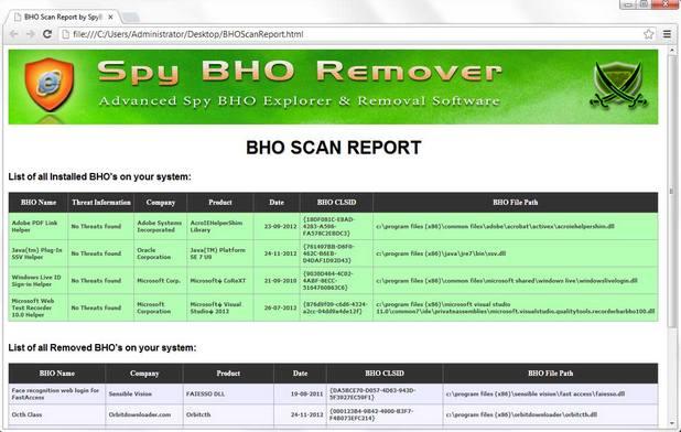 SpyBHORemover показва откритите BHO, които след това могат да се сканират и анализират чрез онлайн услуги