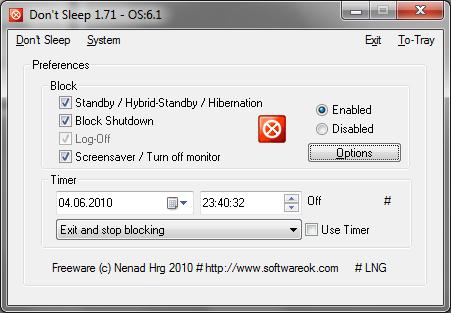 Don't Sleep е портативно приложение, което не изисква инсталация и не променя регистъра на Windows