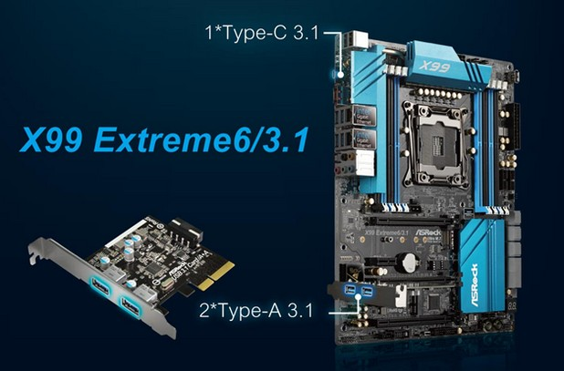 Дъната X99 на ASRock поддържат на борда си Type-C USB 3.1 порт
