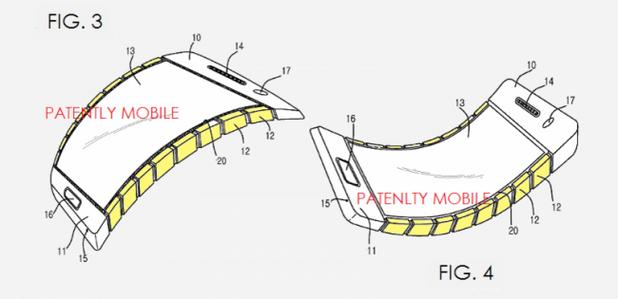 Патентовата конструкция на смартфон предполага подвижност на корпуса, вкл. огъване на устройството