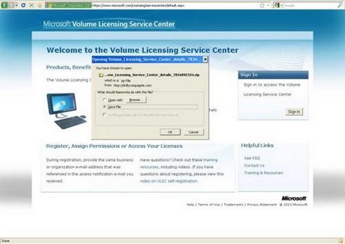 Зловреден сайт имитира оригинално съдържание на Microsoft Volume Licensing Service Center