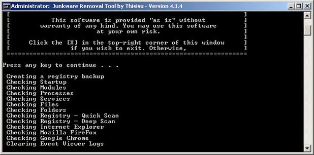 Junkware Removal Tool сканира компютъра и премахва адуер, тулбарове и други нежелани програми