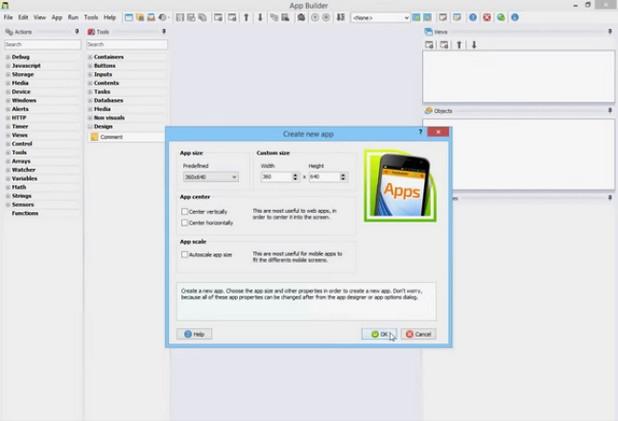 App Builder разчита на концепцията за визуално програмиране за лесно създаване на HTML5 приложения