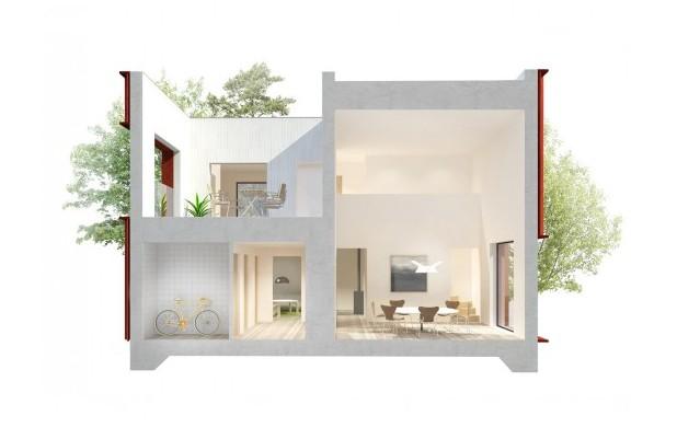 Съвременният интериор е изпълнен с естествена светлина и бели стени