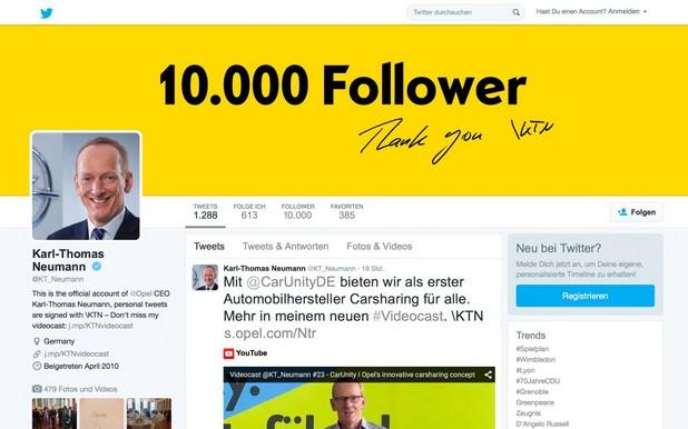 Директорският акаунт на д-р Карл-Томас Нойман в Twitter надхвърли границата от 10 000 последователи