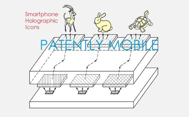 Новата холографска технология на Samsung ще позволи показване на триизмерни икони на мобилните устройства (източник: Patently Mobile)