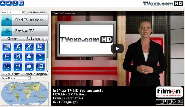 TVexe TV HD емулира обикновения телевизор на персонален компютър, като използва широколентова интернет връзка