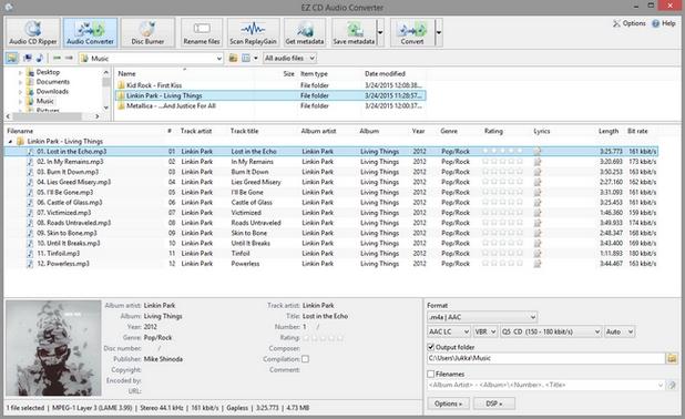 EZ CD Audio Converter Free предлага познатите за подобни програми възможности за запис и конвертиране на аудио