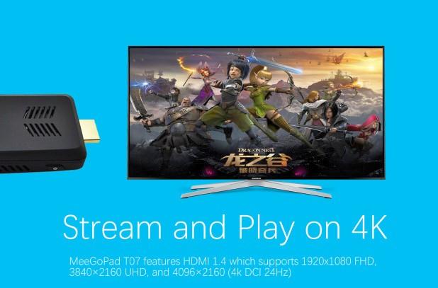 MeegoPad T07 се свързва към телевизор или монитор посредством HDMI