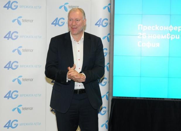 На 1 декември Теленор ще започне да предлага 4G услуги в най-големите градове на България, заяви Стайн-Ерик Велан