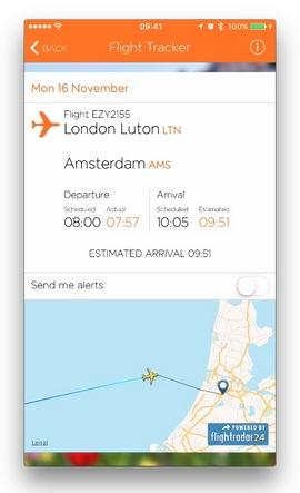 Мобилното приложение на easyJet вече има функция за проследяване на полети в реално време