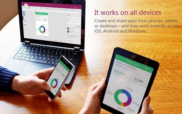 С помощта на PowerApps компаниите могат да създават приложения за мобилни устройства и компютри без да пишат код