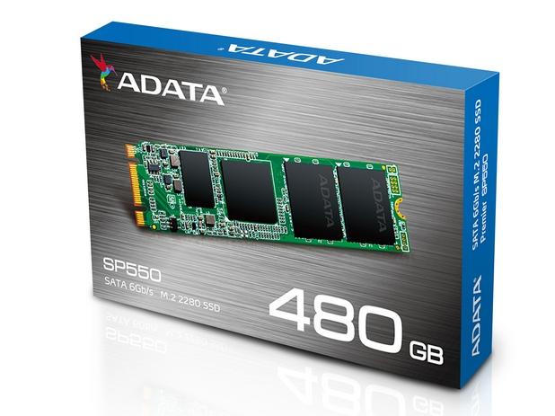 Adata Premier SP550 M.2 2280 има размери 22x80x3,5 мм и е достъпен с капацитет до 480GB